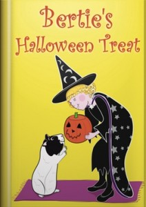 image shows the book cover of the guinea pig story, Bertie's Halloween Treat