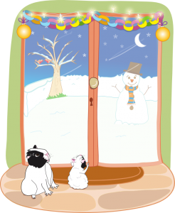 Bertie and Amy look out at the snow. An image from the guinea pig story, Bertie's Christmas Carrot